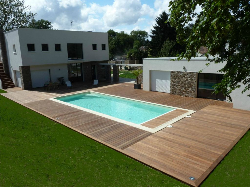 Terrasse bois octogonale diverses id es de for Amenagement plage piscine
